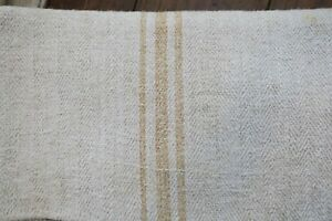 Antique European Hemp Grain Sack Gorgeous Rare Caramel Tan Brown Stripes