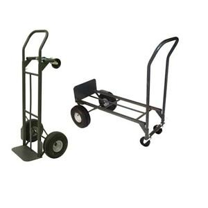 800 Lb Capacity 2 in 1 Convertible Hand Truck 10 In Pneumatic Tires