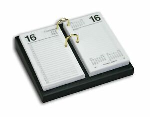 Dacasso Black Leather Desktop Calendar Holder With Gold Bolts 3 5 inch By 6