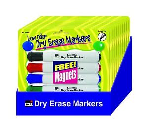 Charles Leonard Barrel Dry Erase Markers And 2 Free Magnets Assorted Colors