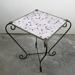 Vintage Small Side Table Plant Stand Mosaic Tiles Checkered Pattern Wrought Iron