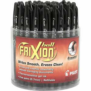 Pilot Frixion Erasable Ball Pen Gel Ink Black Ink Fine Point Tub Of 48 Pens
