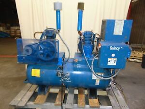 Quincy Duplex Dual Head Air Compressor With 120 Gallon Tank Dual 5hp 3 Phase