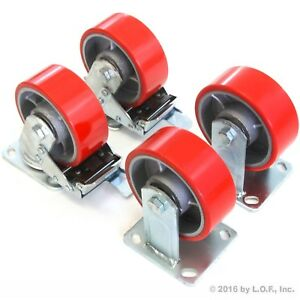 4 Plate Casters 5 Heavy Duty Cast Iron Hub Non Skid Mark Wheels 2 Swivel Brake