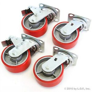 4 Red Wheel Casters Set 5 Wheels All Swivel Heavy Duty Iron Hub No Mark 2 Brake