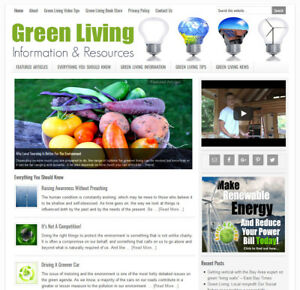 Green Eco friendly Living Blog Website Business For Sale W Auto Content