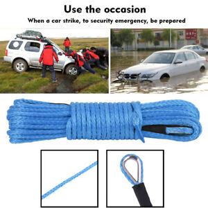 3 16 X 50 7700lbs Synthetic Winch Line Cable Rope With Sheath Atv Utv Blue Cl