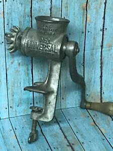 Vintage Universal No 1 Food Chopper Meat Grinder With Wooden Handle