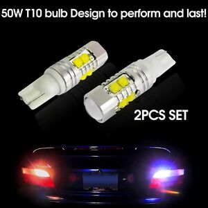 2 X White T10 50w Cree High Power Led Projector Lens Reverse Backup Light 921