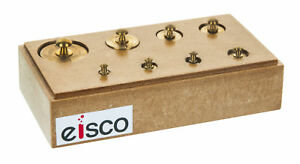 Eisco Labs Primary Weight Set Brass In Hardwood Storage Block 9 Pieces