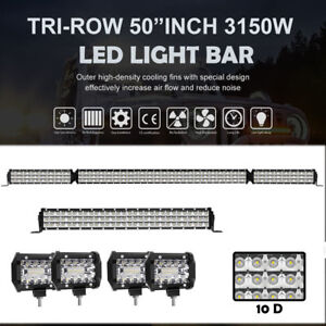 Curved 52inch Led Light Bar Combo 22in 4 Cree Pods Offroad Suv 4wd 50 54 20