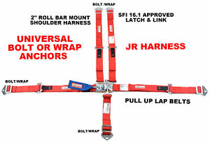 Red Kids Racing Harness Sfi 16 1 5 Point Latch Link Seat Belt Usac