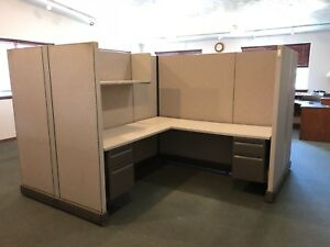 4 Office Cubicle Work Space Stations Desks Square Area Connecting Panel Unit
