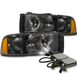 1999 2001 Dodge Ram 1500 Sport Smoke Headlight Corner Lamp W 8000k Xenon Hid Kit