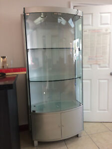 Counter Top Display Standing Showcase Shelves Vitrine Glass Door Walled Salon