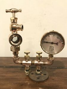 Steampunk Sculpture Unique Parts Lunkenheimer Ashcroft Oilers Gauge Vintage