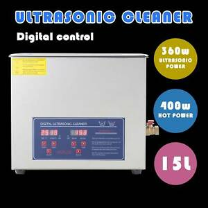 15l Ultrasonic Cleaner Jewelry Cleaning Machine W Heater Timer Stainless Steel