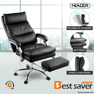 Neader Executive Chair Pu Leather Luxury Reclining Office Chair W footrest Black