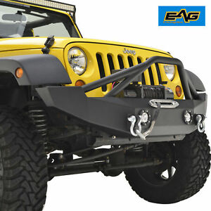 Eag 07 18 Jk Jeep Wrangler Offroad Front Bumper With Led Accent Lights