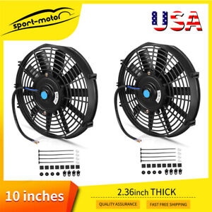 2x 10 Inch 1750cfm 80w Electric Radiator Cooling Slim Fan Push Pull Universal