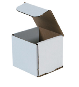 Pack Of 100 Strong Corrugated Mailer 4x4x4 White Small Folding Light Mailing Box