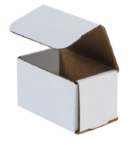 Pack Of 100 Strong Corrugated Mailer 5x3x3 White Small Folding Mailing Box Light