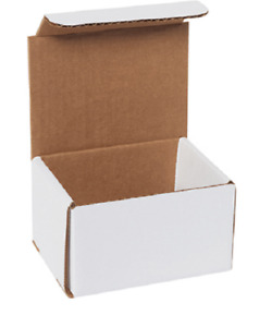 Pack Of 100 Strong Corrugated Mailer 5x4x3 White Small Folding Mailing Box Light