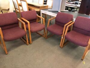Lot Of 4 Side Guest Lobby Chairs W Med Oak Finish Wood Frame as is pick Up