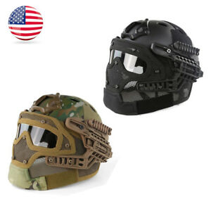 Multi-function Tactical Airsoft Paintball Fast Helmet wGoogles Mask  Protective