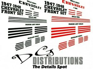1947 1948 Chevy Fleetline Fleetmaster Coupe Stylemaster Front Decal Set
