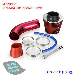 3 76mm Universal Car Cold Air Intake Filter Alumimum Induction Kit Pipe Hose New