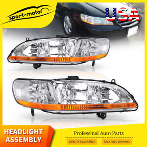 Headlights Assembly Replacement For 1998 2002 Honda Accord W Amber Reflector