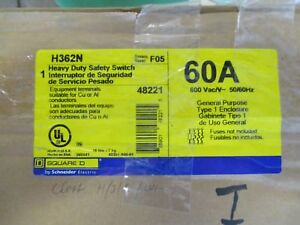 Square D H362n Series F 60 Amp 600 Volt Fusible Disconnect New