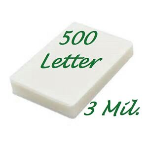 500 Letter Laminating Pouches Laminator Sheets 9 X 11 50 3 Mil Scotch Quality