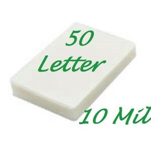 50 Letter Laminating Laminator Pouches Sheets 10 Mil 9 X 11 1 2 Scotch Quality