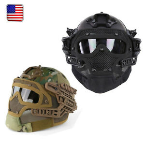 Airsoft Paintball Tactical SWAT Protective Fast Helmet wGoogles Mask Outdoors