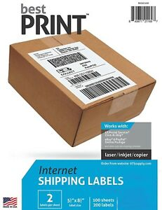 Best Print 200 Shipping Labels Half Sheet 8 5 X 5 2 Per Sheet 80202100