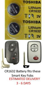 2 Pk Smart Key Fob Remote Lithium Battery Cr1632 Fits Toyota