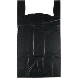 1000 Black 1 8 Heavy Duty T shirt Plastic Shopping Grocery Heavy Duty Bags