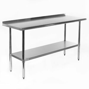 Gridmann Nsf Stainless Steel Commercial Kitchen Prep Work Table W Backsplash