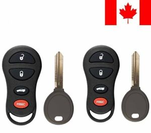 2x New Replacement Keyless Entry Remote Key Fob 64 Chip For Chrysler Dodge Jeep