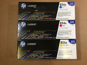New Genuine Hp 824a Cmy Toner Lot Cb381a Cb382a Cb383a Same Day Shipping
