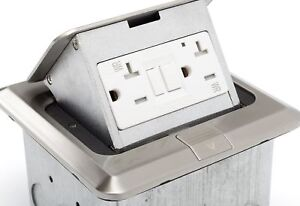 Lew Electric Pufp sq ss gfi Pop Up 20 Amp Gfci Outlet Box Stainless Steel