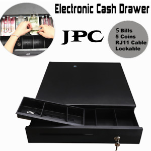 5bill 5coin Cash Drawer Box With Key Works Compatible Epson Tray Pos Printers