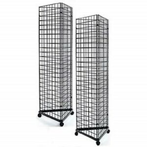 Only Hangers 2 x6 Gridwall Triangle Base Floor Display Black 2pk