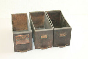3 Vintage Wood Metal Drawer Box Bin File Industrial Salvage Country Decor