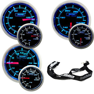 Prosport 52mm Blue White Gauge Kit Boost Oil Pressure Water Temperature