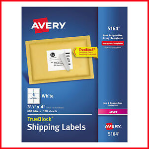 no Tax Avery 5164 Laser Shipping Labels 3 1 3 X 4 White 600 Labels