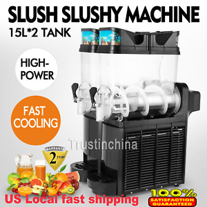 Commercial 2 Tank Frozen Drink Slush Slushy Make Machine Smoothie Ice Maker 110v