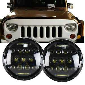 Pair 7 Round Led Headlights Halo Angle Eyes For 97 17 Jeep Wrangler Jk Lj Tj Cj